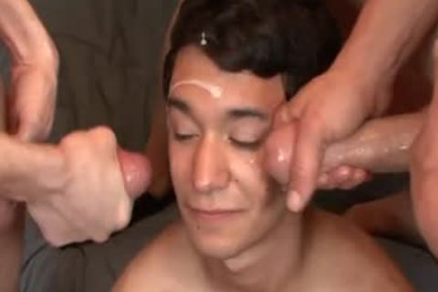 Bukkake dilettante homosexual receives Drenched