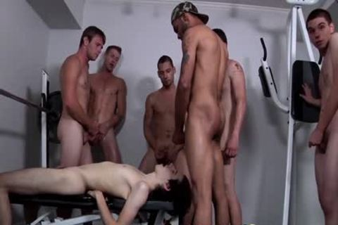 Shy boy gets his Very First Bukkake groupbang