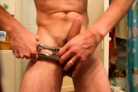 Jacking Off, After Applying A group With An Elastrator, And Hanging 2kg Weight To The Balls. not quite Castrated