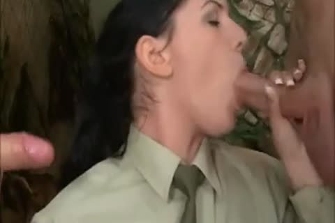 brunette girl In Al ass three-some With two sleazy Soldiers