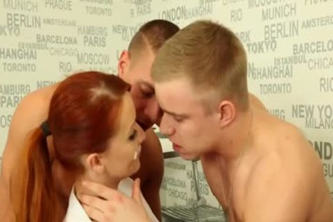 stunning bi-sexual males pounding With A Redhead