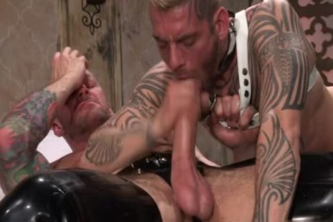 Tattoo'd Muscle Beefcakes With Bum Love Behind nailing Fetish take up with the tongue jock And Take A cumshot