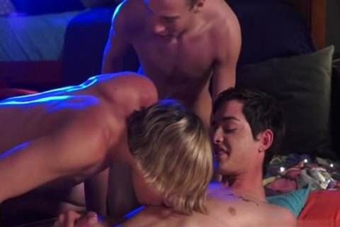 Tattoo twink three-some And Facial