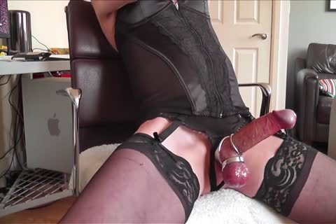 darksome Corset, stockings, steel Rings And cum