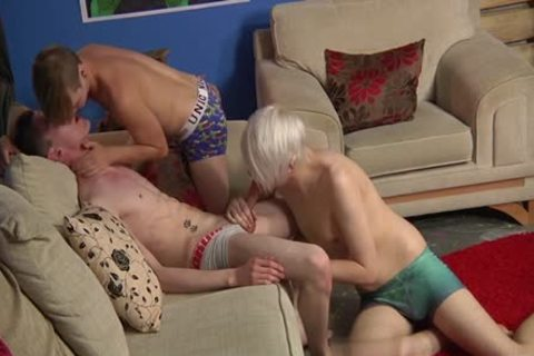 Tattoo twinks trio With Facial cum