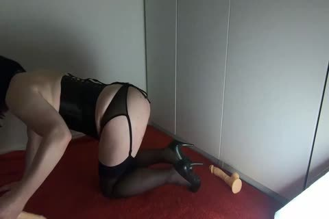 Sissy Crossdresser Lizzy Rides Double fake penis And drips