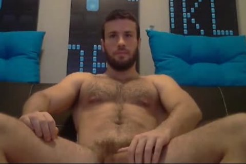 built Bearded guy Jacking Is enormous Muscle cock Tell this man Ready To Explode his sperm