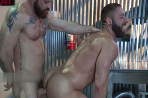 Tattoo homosexual anal stab And penis juice flow