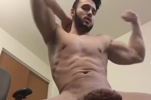 slutty Hunk Shows Off His Body And Cums On Himself
