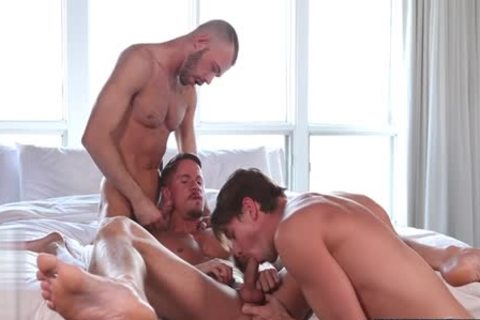 large penis gay threesome With Facial