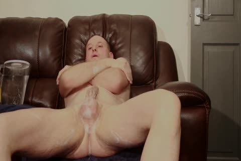 SOFA naked man SHAVES moist SOAPY wank cum