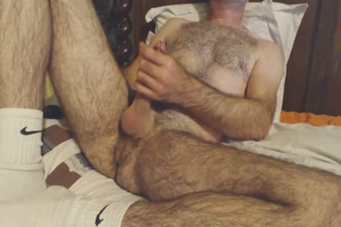 hairy daddy guy Shows Off His Rock Solid wang
