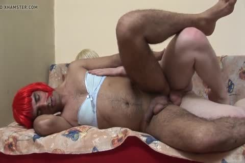 Non-passable gay hairy Cross Dresser receives nailed