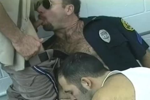 hairy Cop's Furry Chest Is jizzed On After Threeway suck