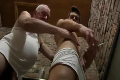 worthwhile Looking grandad & young man suck Each Other In A Public