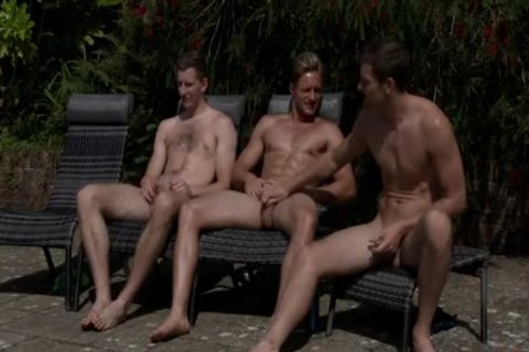 Three boy Jerking-off By The Swimmingpool