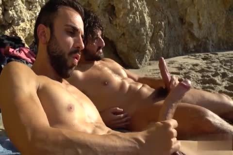 enormous dicks wanking AT THE BEACH