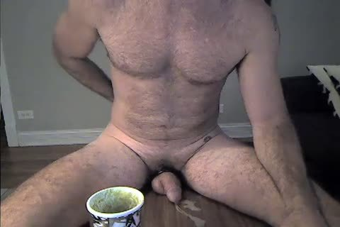bushy Daddy Rides A dildo And Cums two