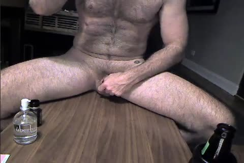 hairy Daddy Rides A sex-dildo And Cums