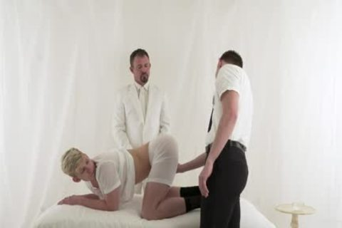 two studs Take Turns Riding giant Priest pecker
