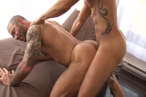 Alexy Tyler pokes Tattooed Muscle chap Junior Stellano Scene From butthole