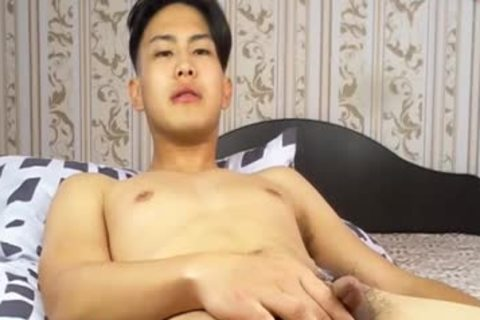 fine Korean man Tugging small cock And Shotting Loads Of sperm