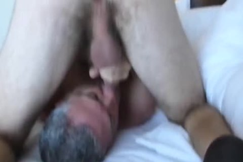 Bearded hairy 3-WAY With A chick: RIM-CHAIN blowjob-69-BB-HJ-sperm