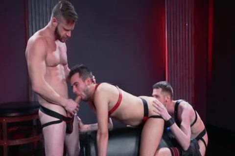 Mysterious Leather three-some Deepthroat, nail And Fist